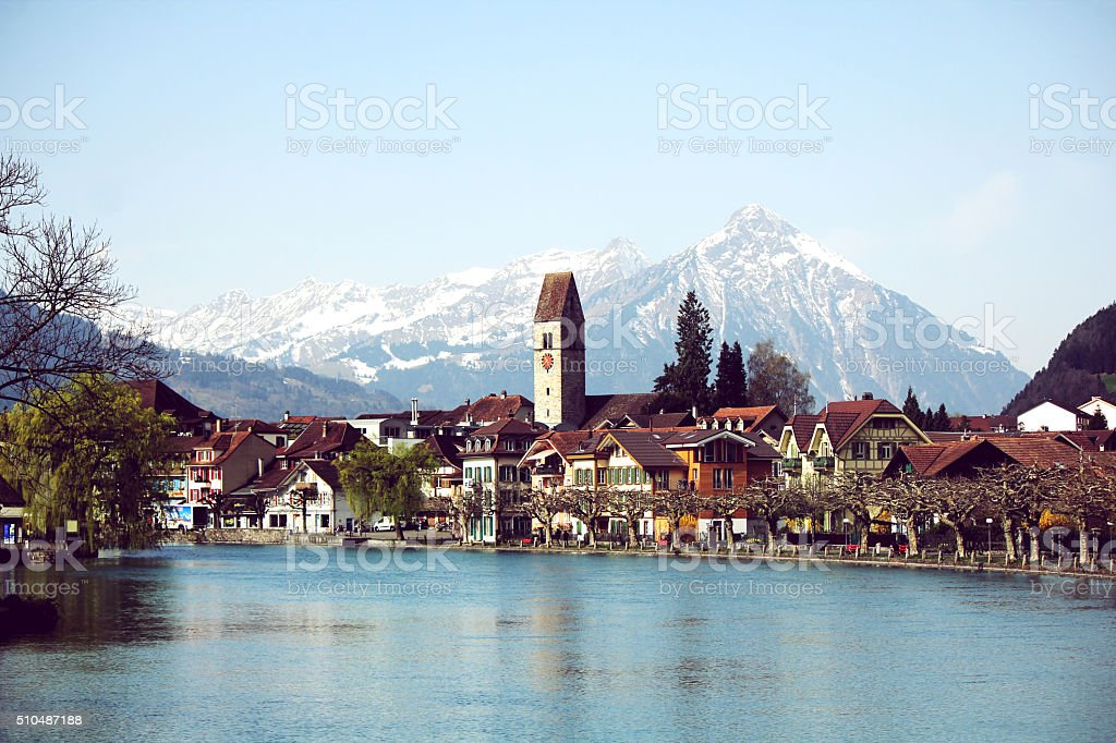 Interlaken town view stock photo