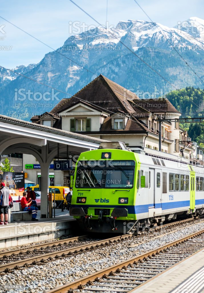 Interlaken train station, Switzerland stock photo