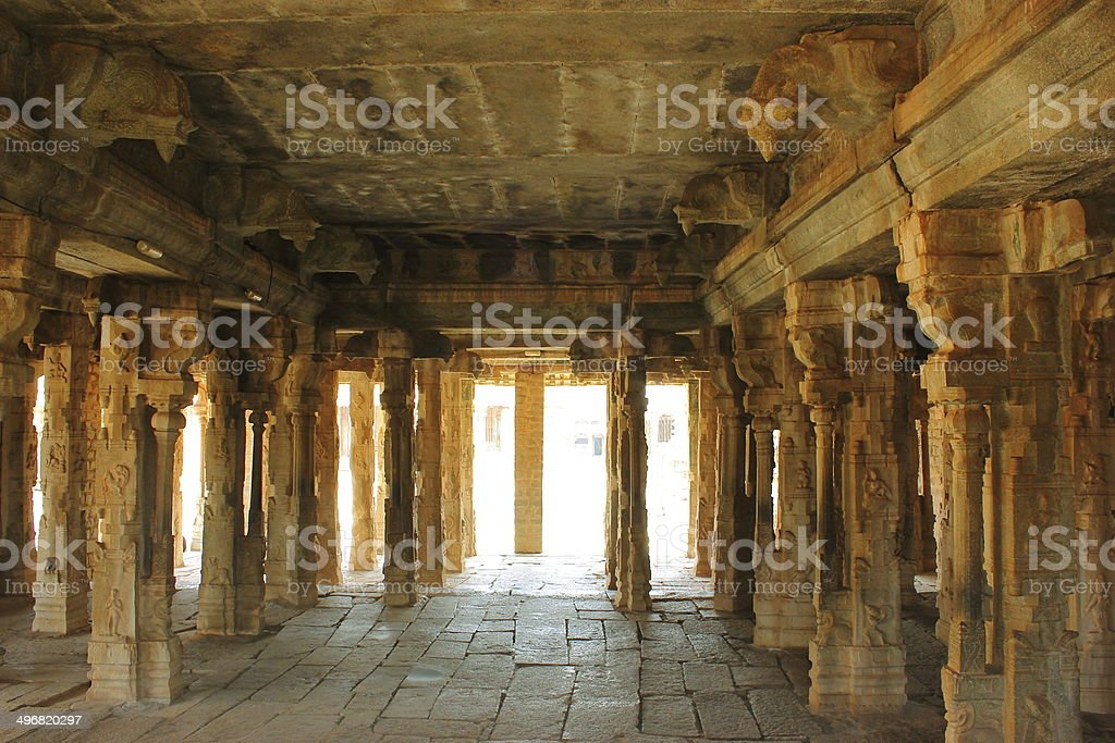Internal architecture of Vitthal temple stock photo