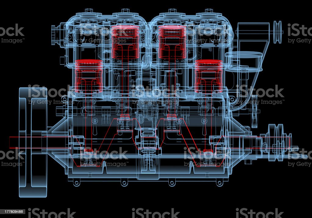 Internal combustion engine (3D xray red and blue transparent) stock photo