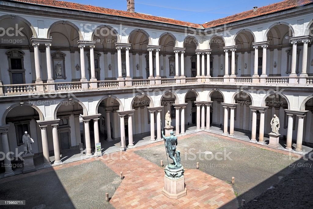 Internal courtyard of Pinacoteca di Brera, Milan stock photo