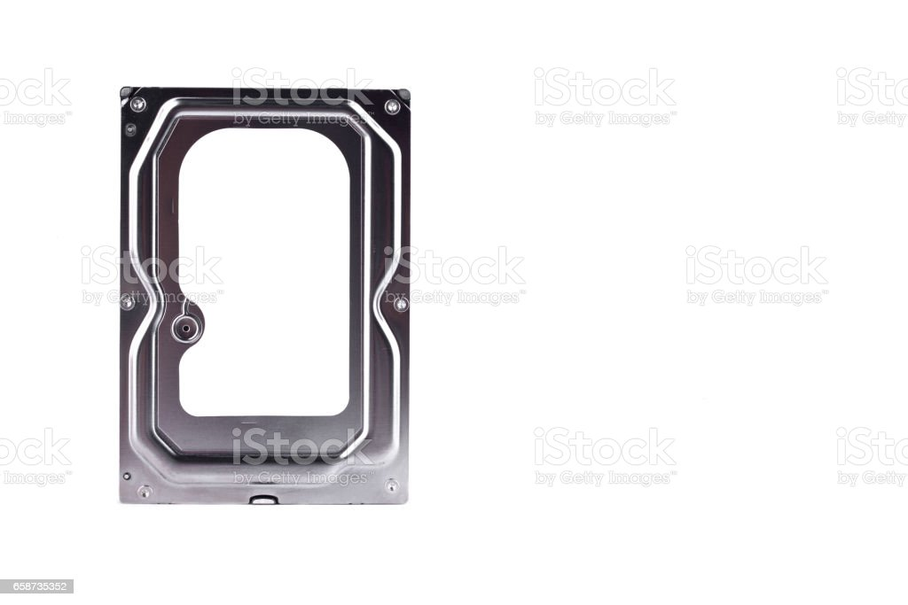 internal harddisk drive is the data storage for the digital data computer on white background  harddisk technology isolated stock photo