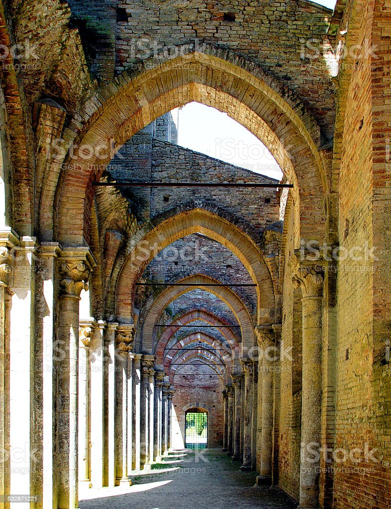Internal layout of the abbey of San Galgano, Tuscany. stock photo