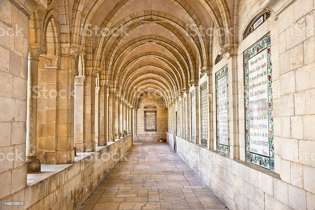 Internal passageway of church the Pater Noster royalty-free stock photo