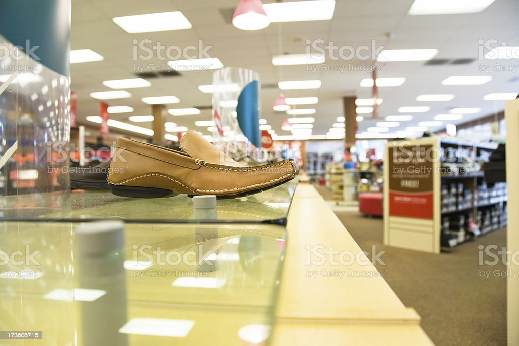 Internal photo of a shoe store. royalty-free stock photo