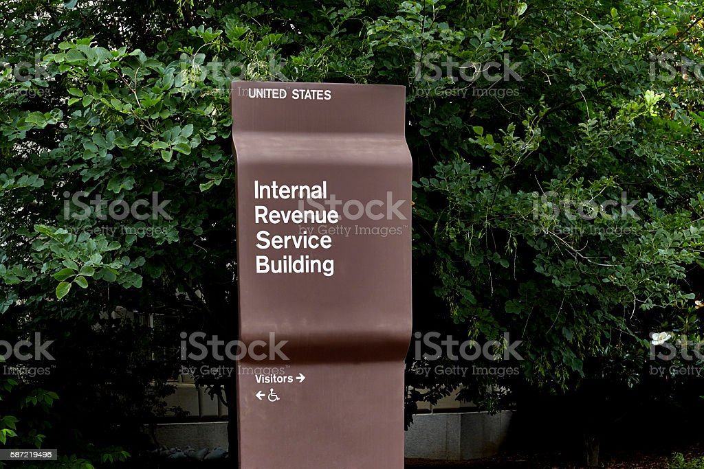 Internal Revenue Service Building Sign stock photo