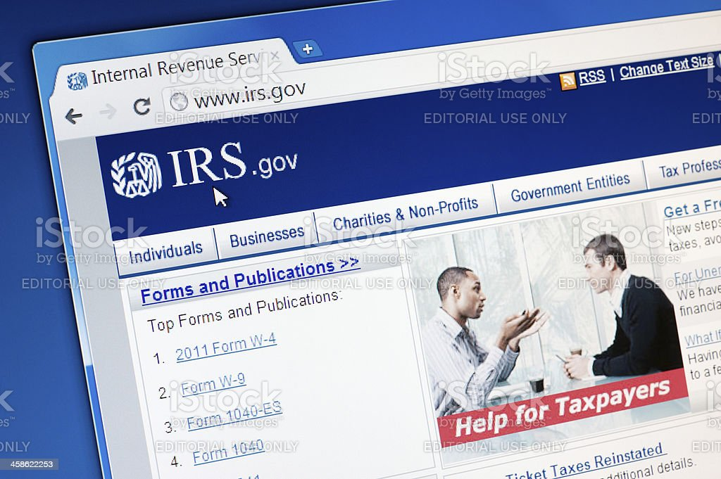 Internal Revenue Service (IRS) main page on the web browser. stock photo