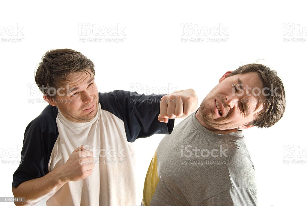 Internal struggle - a man fighting with himself royalty-free stock photo