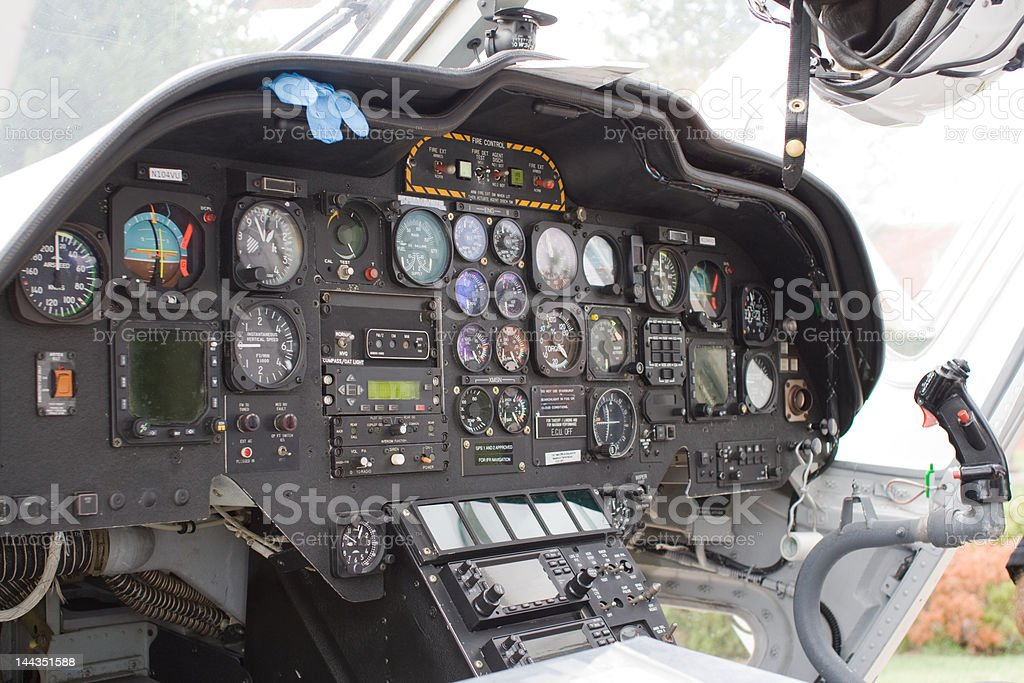 Internal view of a helicopter royalty-free stock photo