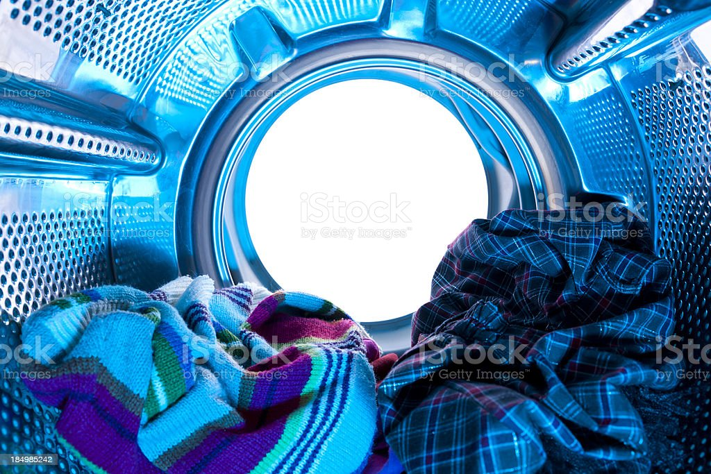 Internal view of a washing machine stock photo