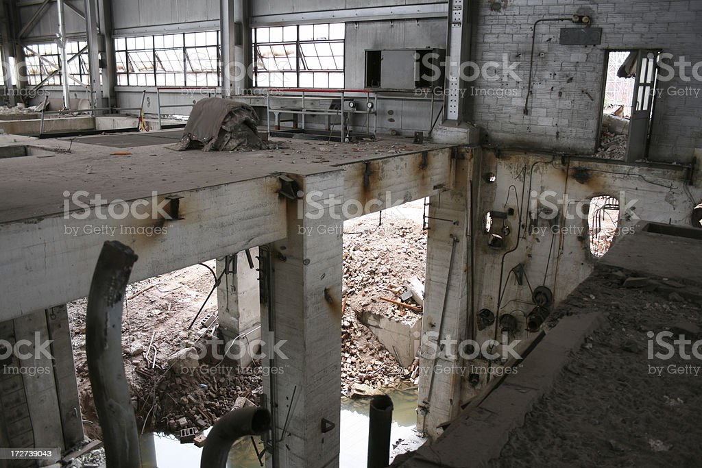 Internal view of collapsed factory facade royalty-free stock photo