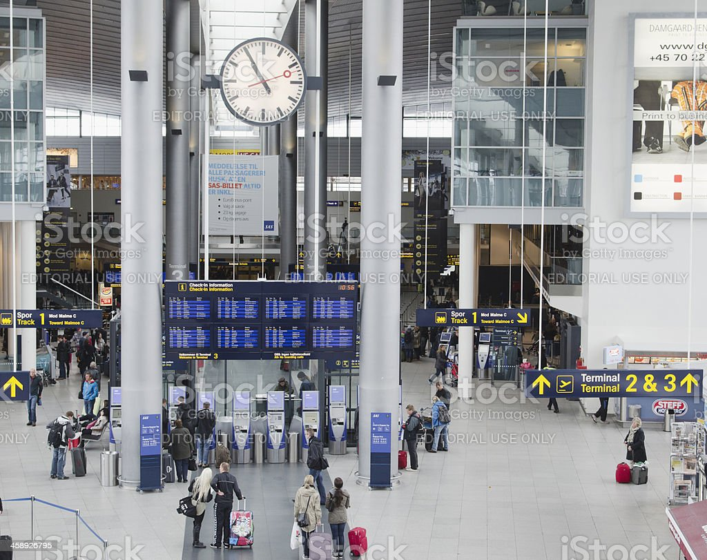 Internal view of the Copenhagen CPH airport stock photo