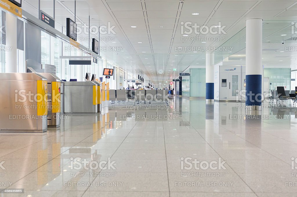 Internal view of the Munich Airport stock photo