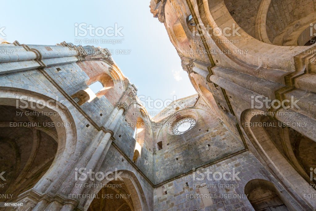 Internal view of the ruins of Medieval San Galgano Abbey near Siena, Italy stock photo