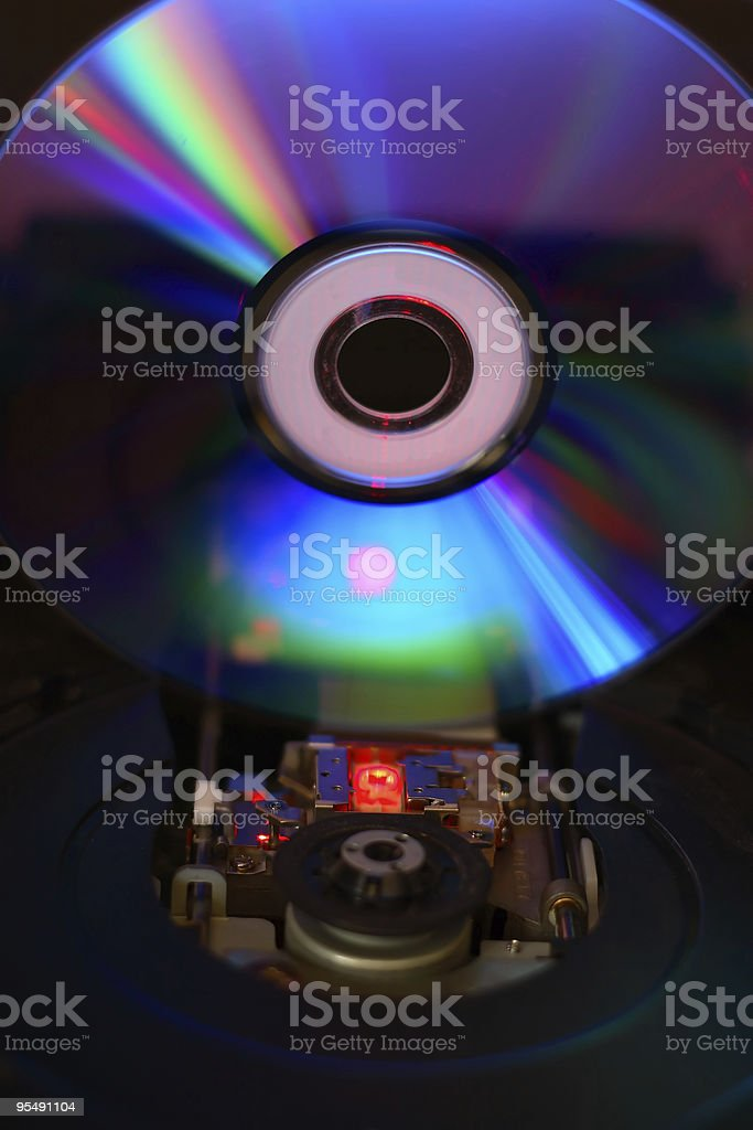 Internal view of working cd/dvd drive royalty-free stock photo