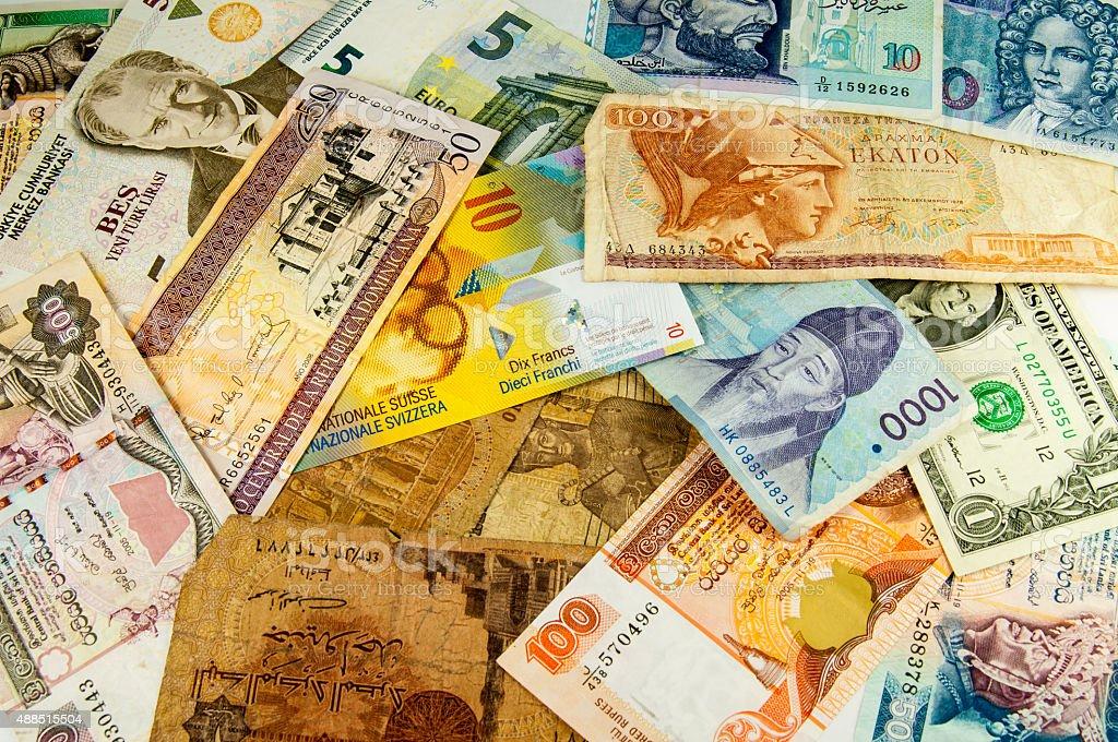 Internarional banknotes stock photo