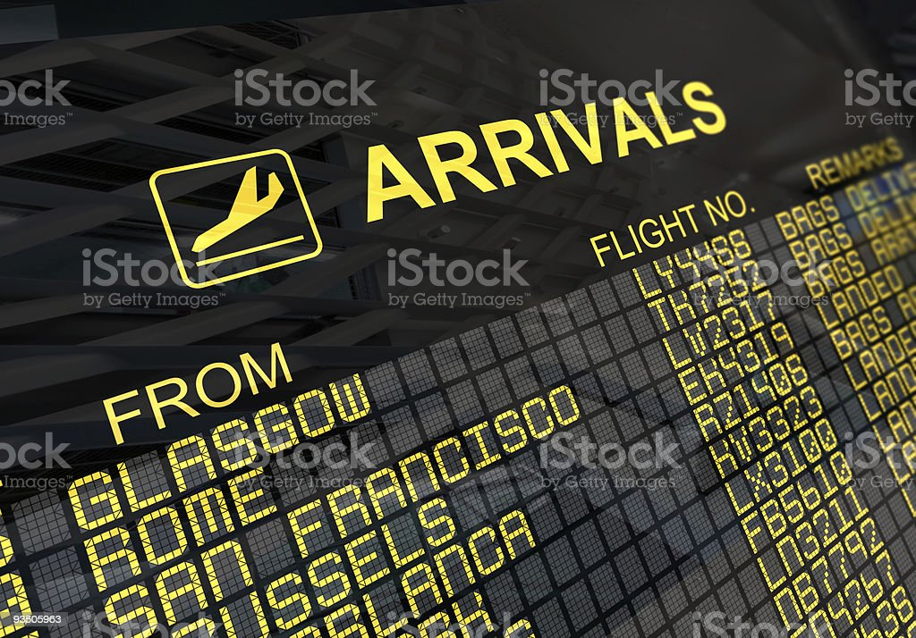 International Airport Arrivals  Board royalty-free stock photo