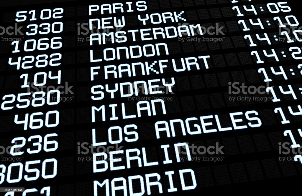 International Airport Board Display stock photo