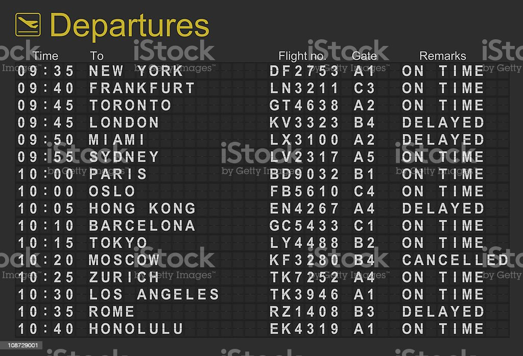 International Airport Departures Board stock photo