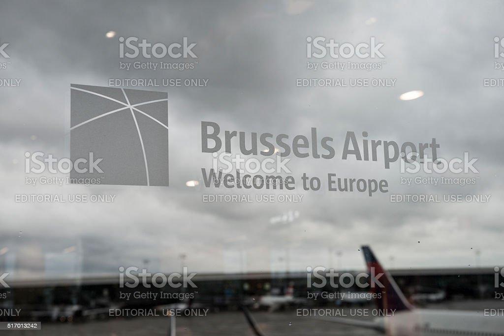 International airport in Brussels, Belgium stock photo
