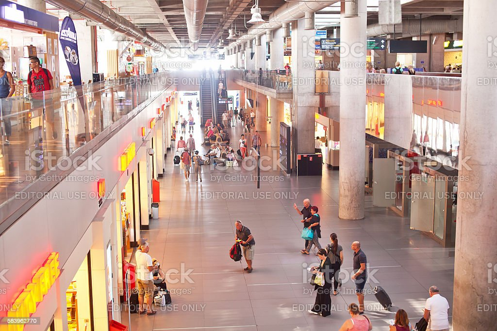 International airport in the Dalaman city with many traveler. stock photo