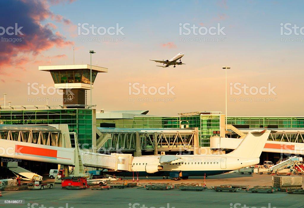 International Airport Schiphol in Amsterdam stock photo