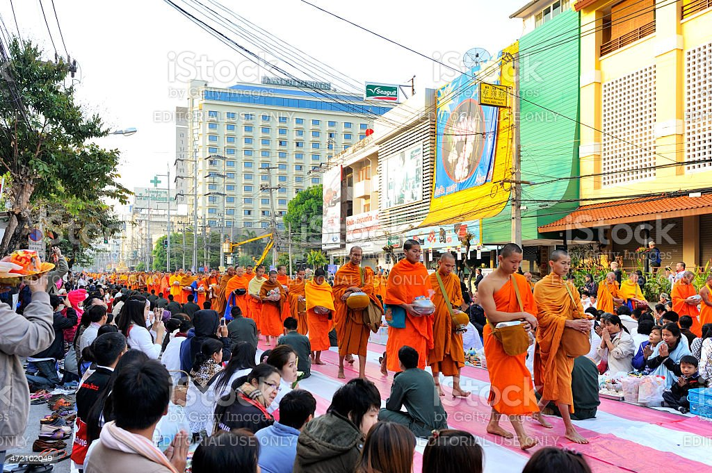 International Alms Offering to 10,000 monks royalty-free stock photo