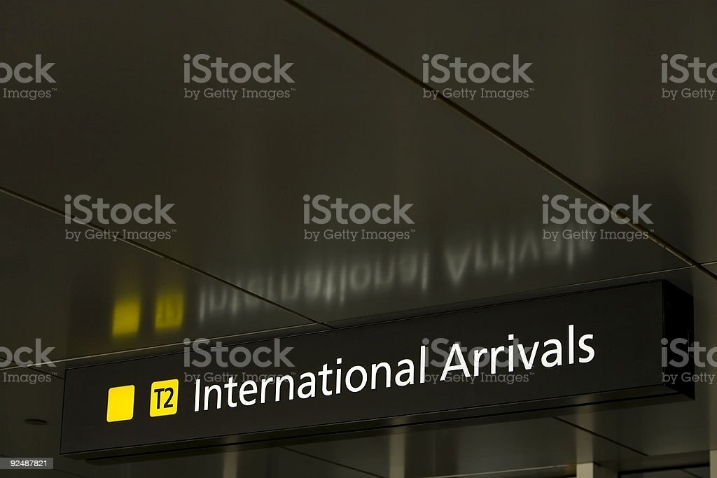 International arrivals sign royalty-free stock photo