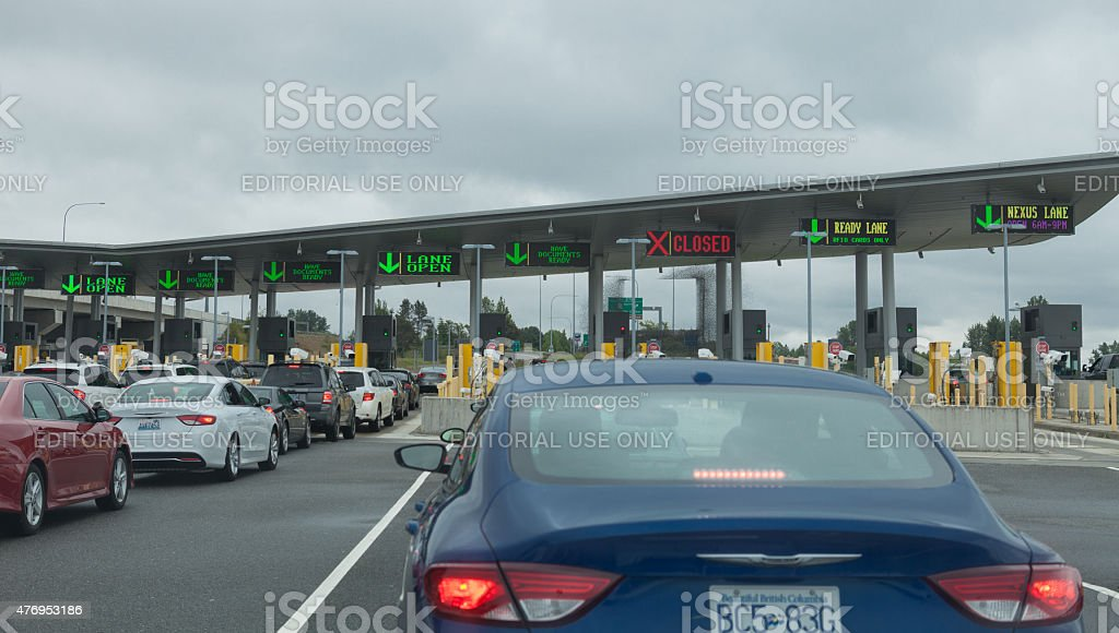 International Border Crossing stock photo
