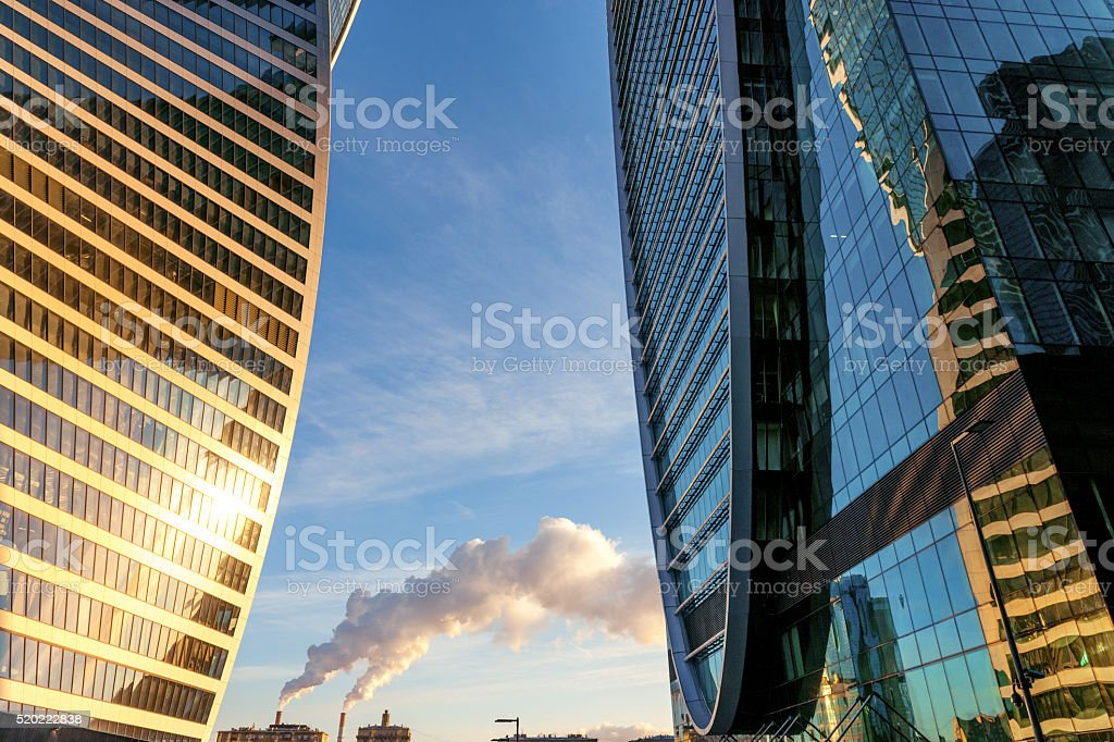International business center Moscow-city,skyscrapers, steam,Moscow,Russia stock photo