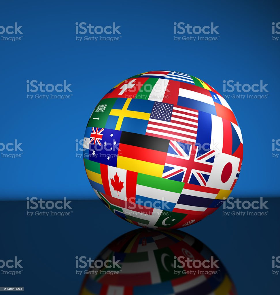 International Business Globe World Flags stock photo