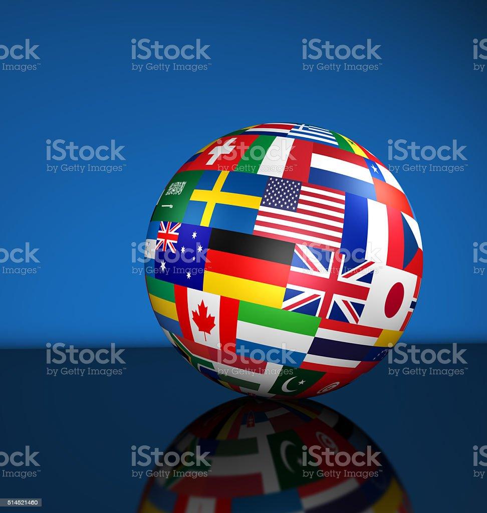 International Business Globe World Flags stock photo