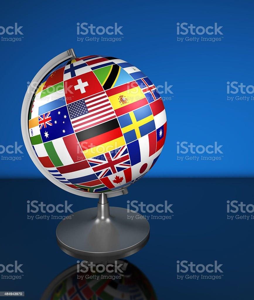 International Business School Globe Flags stock photo