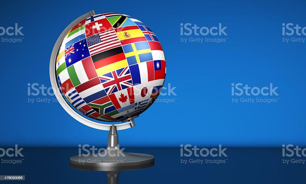 International Business School Globe World Flags stock photo