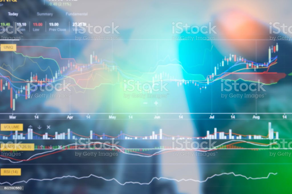 International business Stock finacial concept with business growth and progress with Stock market digital graph chart on LED display stock photo