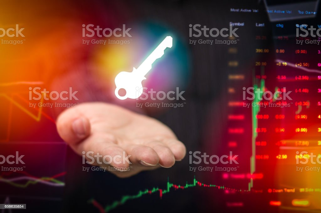 International business Stock finacial concept with businessman hand, His business growth and progress with Stock market digital graph chart on LED display stock photo