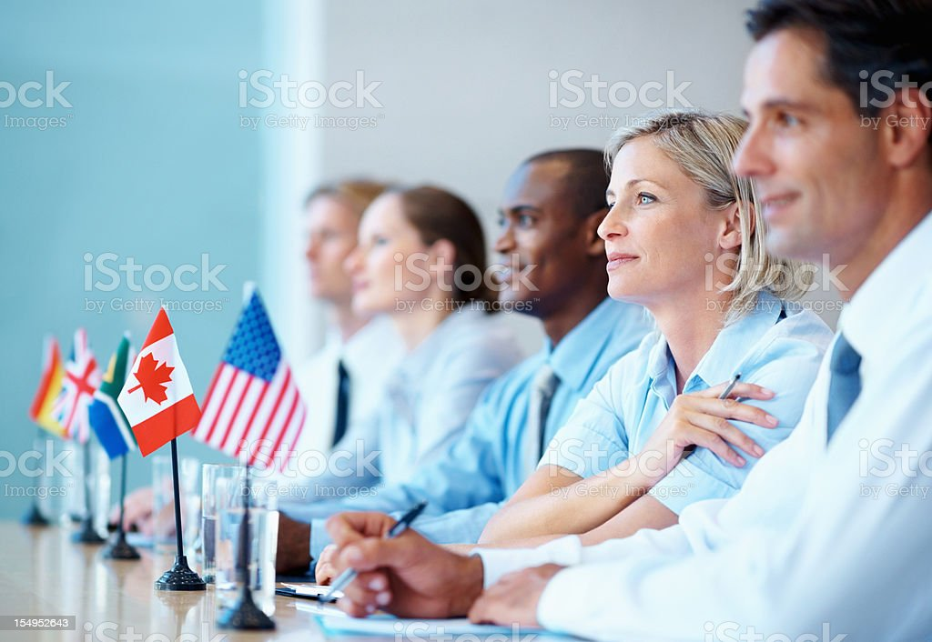 International business team in a meeting royalty-free stock photo