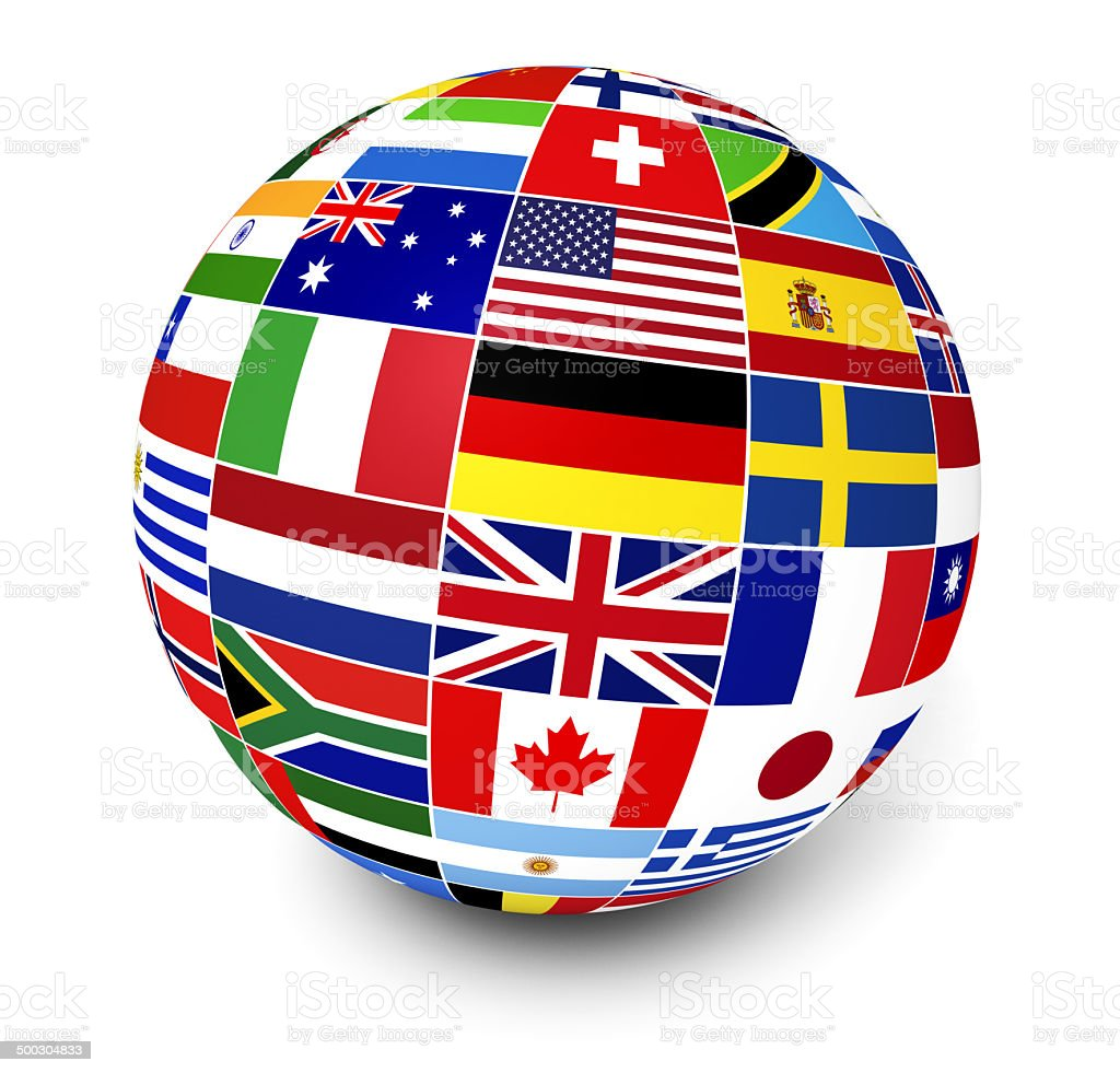 International Business World Flags stock photo