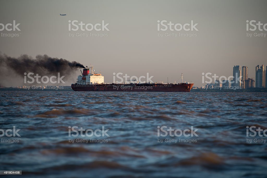 International Cargo Boat Pollution. Buenos Aires. stock photo
