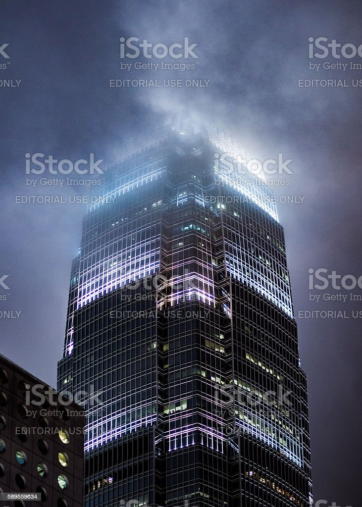 Close up view of the International Commerce Center in Hong Kong being...