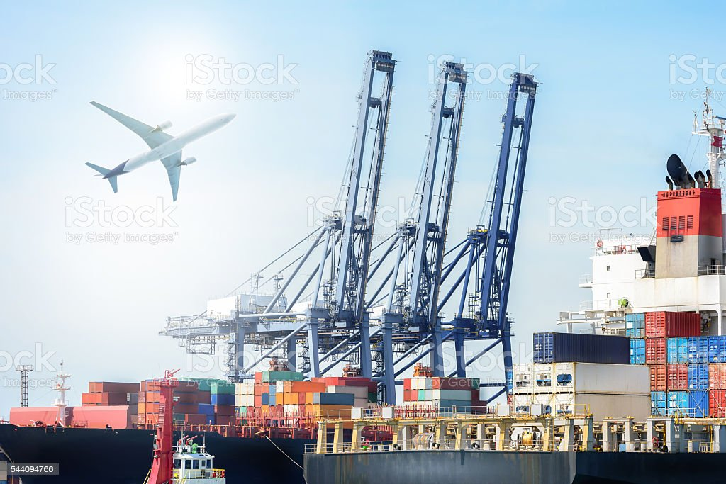 International Container Cargo ship and Cargo plane stock photo