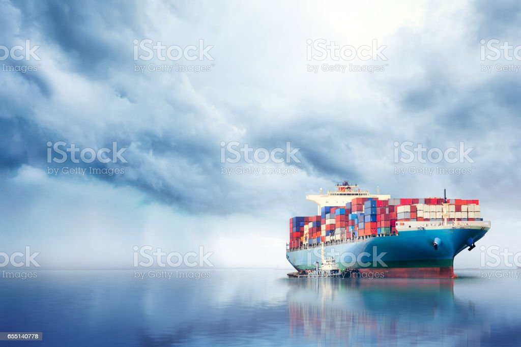 International Container Cargo ship in the ocean, Freight...