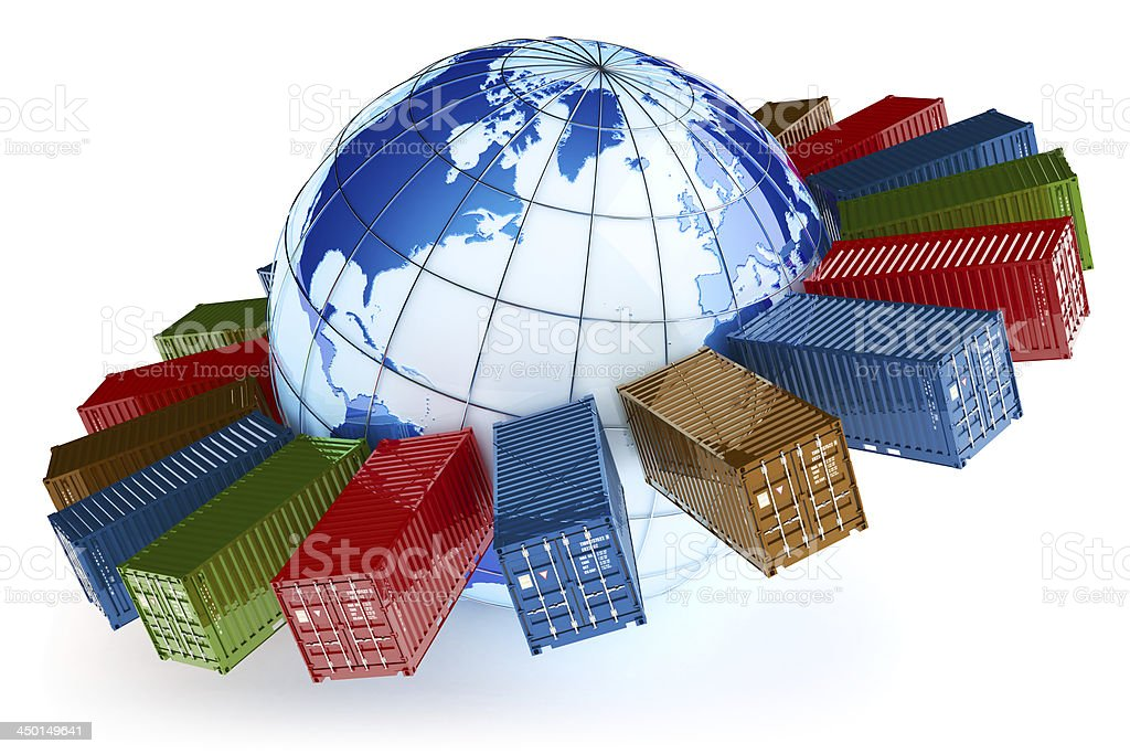 International container transportation icon stock photo