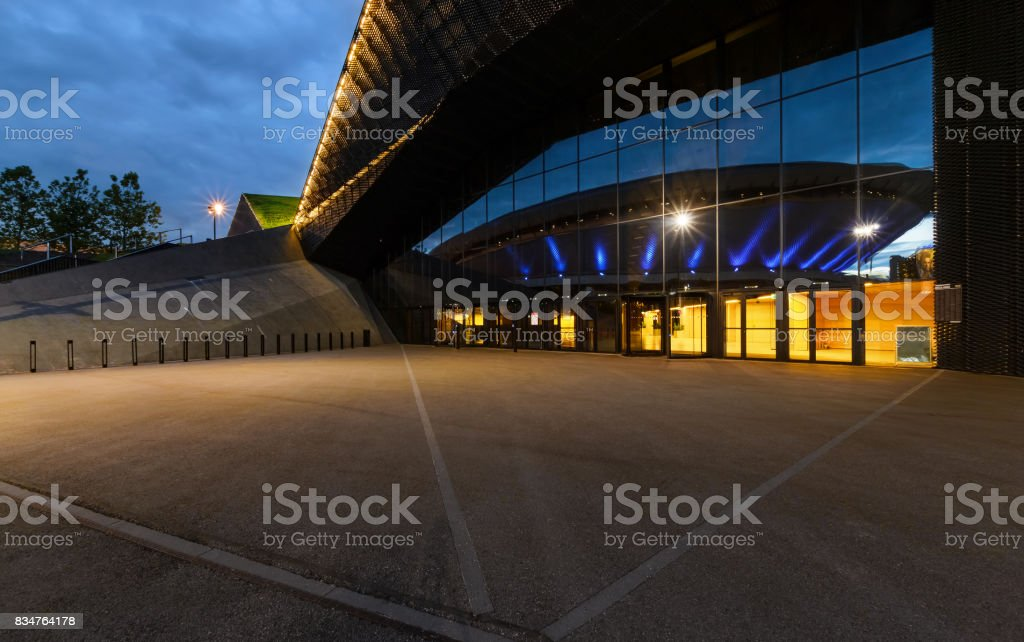 International Convention Centre in Katowice with Spodek in reflection stock photo