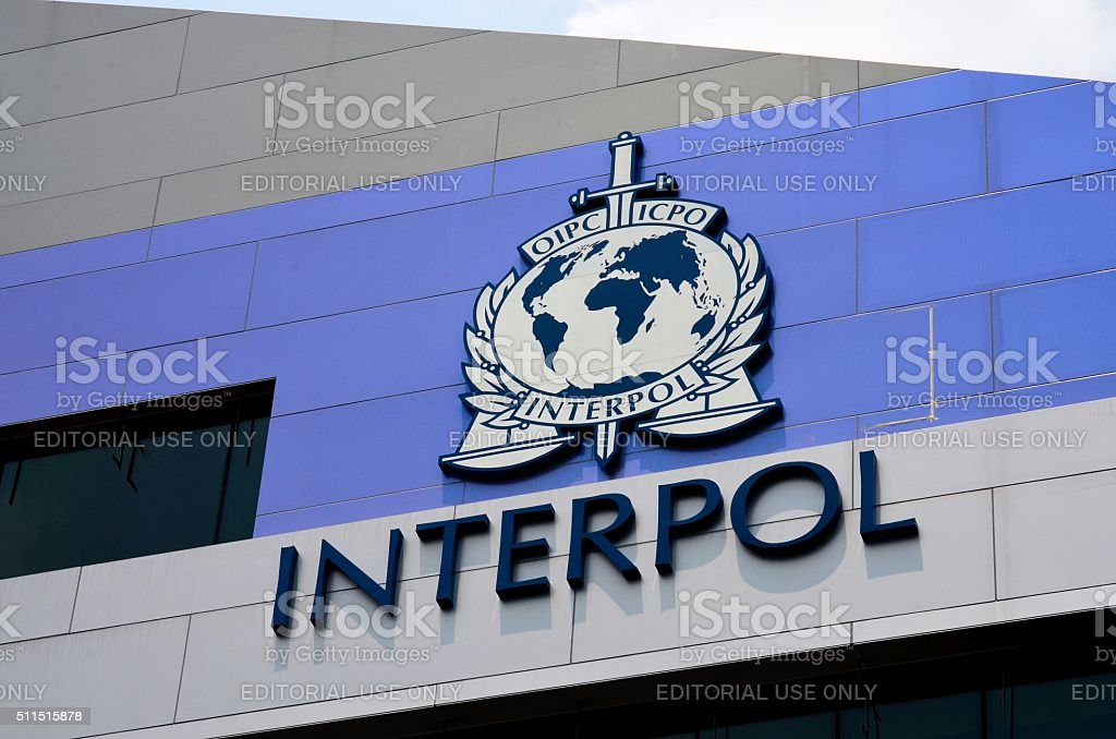 International Criminal Police INTERPOL sign and logo on building Singapore stock photo