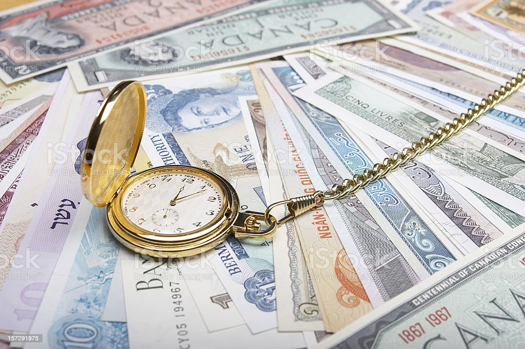 International Currency and Time royalty-free stock photo