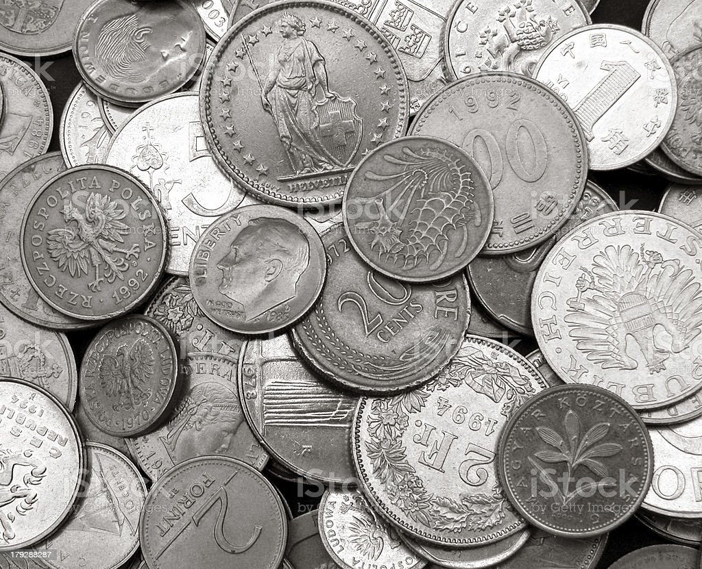 International currency background stock photo