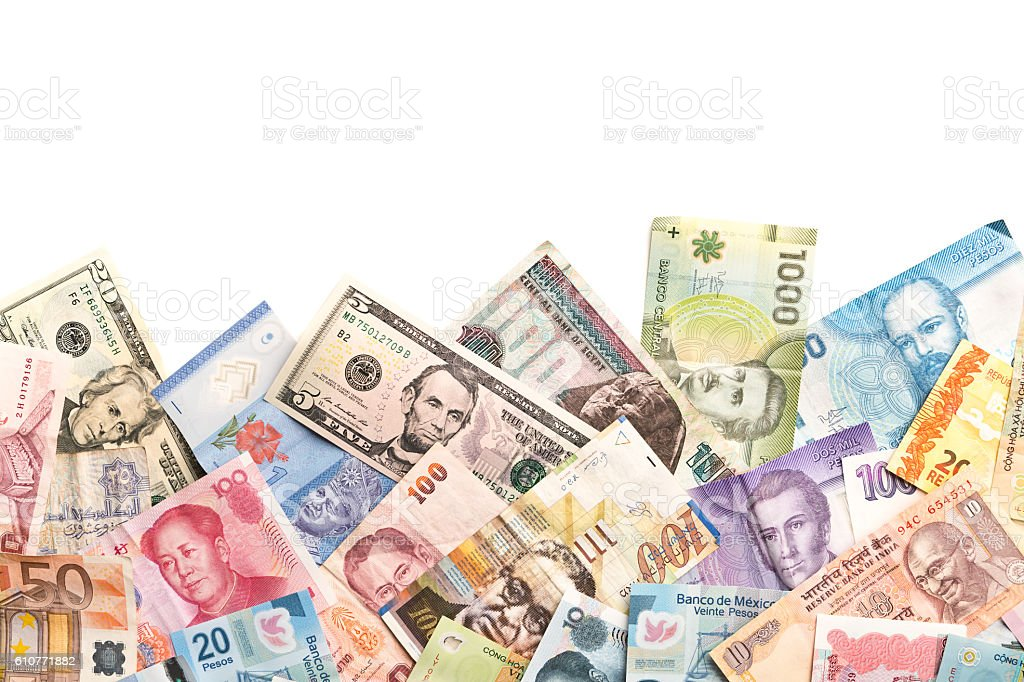 International Currency Global Money Exchange and Business Finance Border stock photo