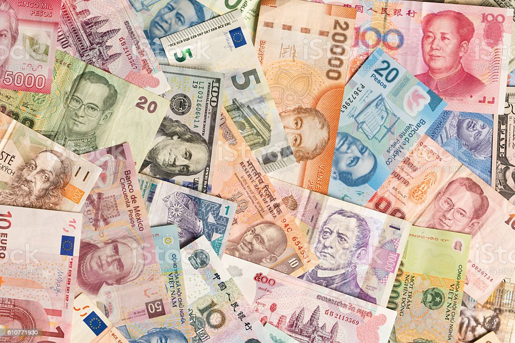 International Currency Global Money Exchange and Business Finance stock photo