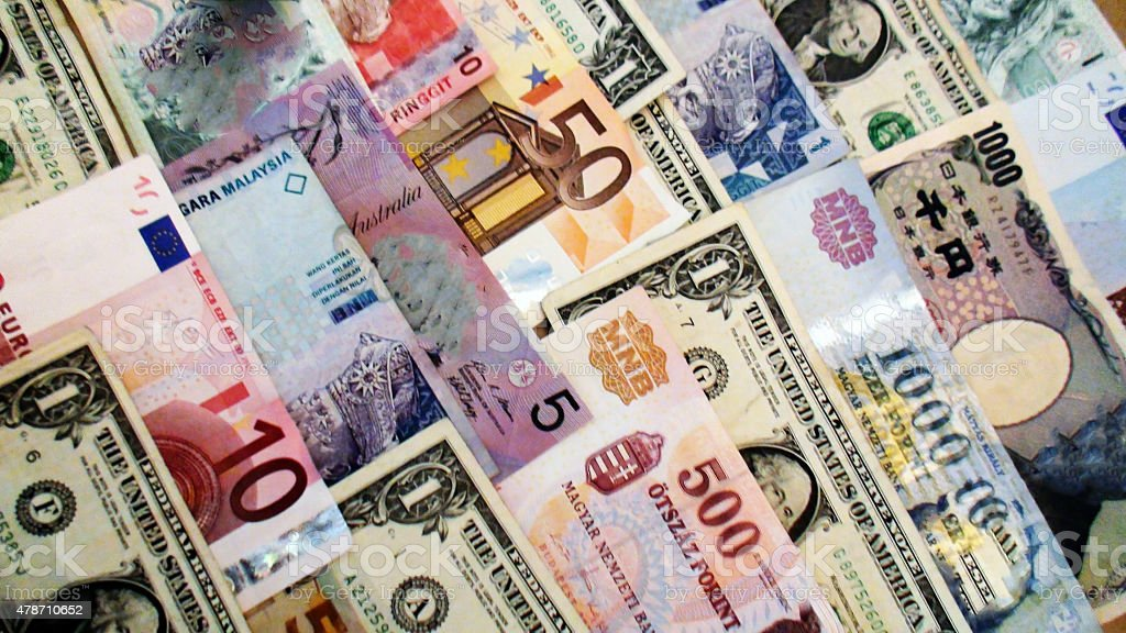International Currency Notes stock photo
